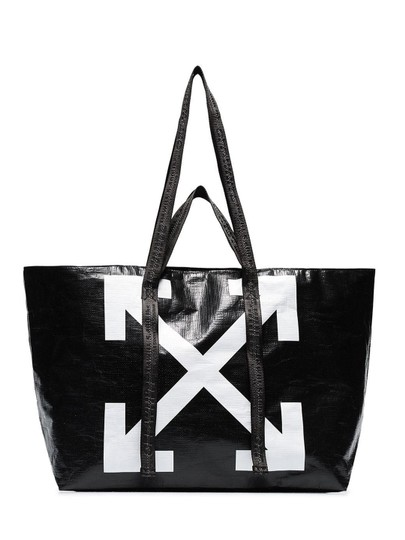 Preload https://img-static.tradesy.com/item/26447287/off-whitetm-pvc-oversized-commercial-arrow-logo-black-polyethylene-tote-0-0-540-540.jpg