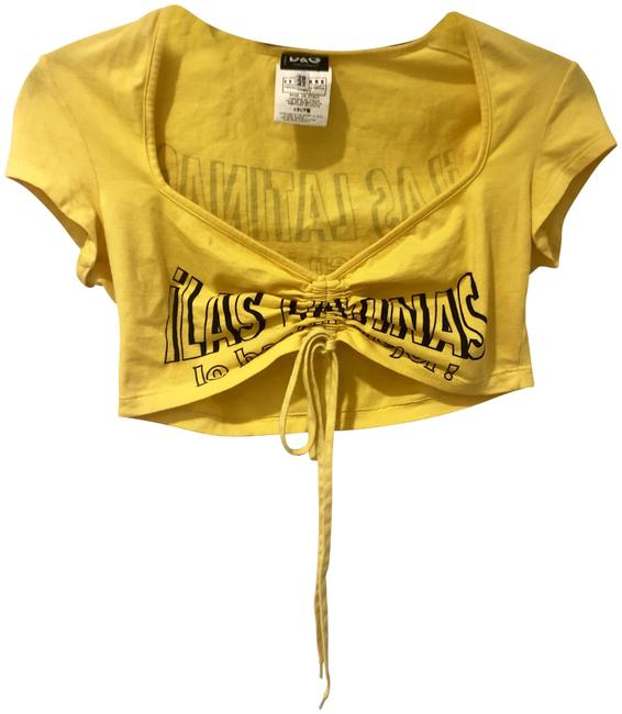 Item - Yellow D&g Summer Runway Cropped Tee Shirt Size 6 (S)