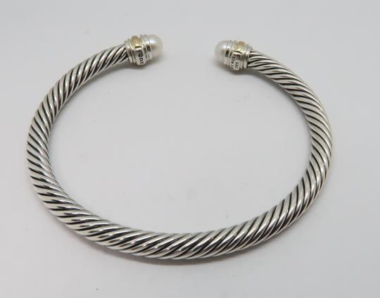 David Yurman 5mm cable bracelet with gold trim Medium size Image 2