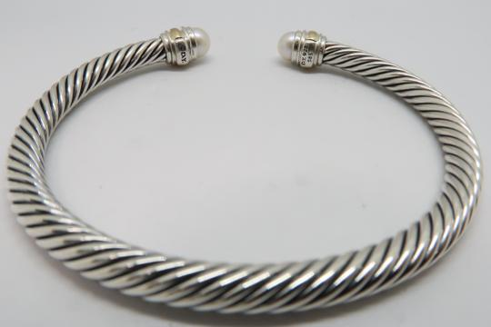 David Yurman 5mm cable bracelet with gold trim Medium size Image 4