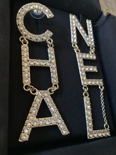 Chanel RUNWAY CHA NEL Letter Logo Crystal Gold Drop Statement Earrings Image 1