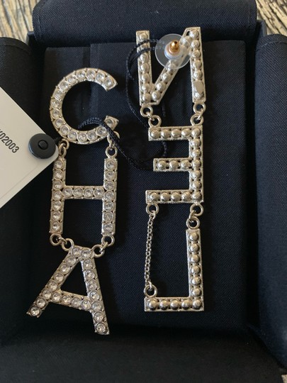 Chanel RUNWAY CHA NEL Letter Logo Crystal Gold Drop Statement Earrings Image 2