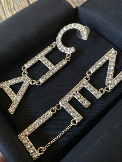 Chanel RUNWAY CHA NEL Letter Logo Crystal Gold Drop Statement Earrings Image 3