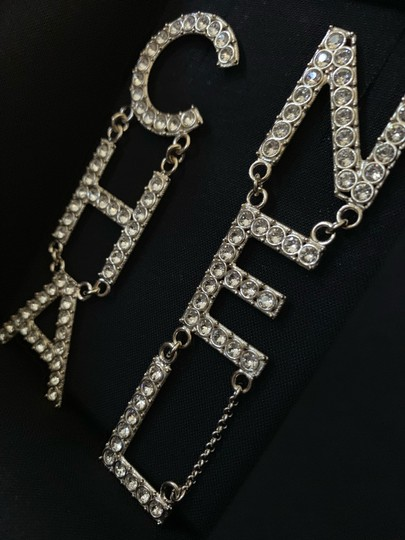 Chanel RUNWAY CHA NEL Letter Logo Crystal Gold Drop Statement Earrings Image 8
