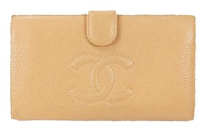 Chanel Chanel Long Wallet Cocomark Women's Caviar Leather Long Wallet (bi-fold) Beige