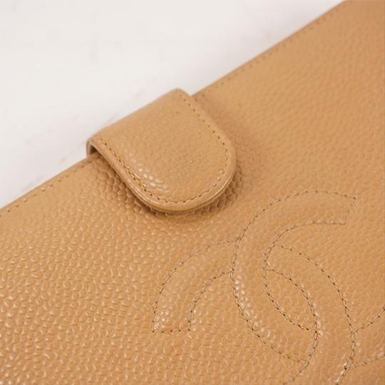 Chanel Chanel Long Wallet Cocomark Women's Caviar Leather Long Wallet (bi-fold) Beige Image 11