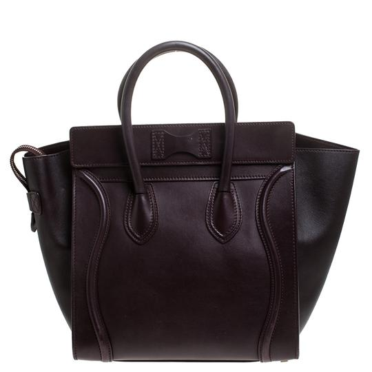Céline Leather Tote in Burgundy Image 1