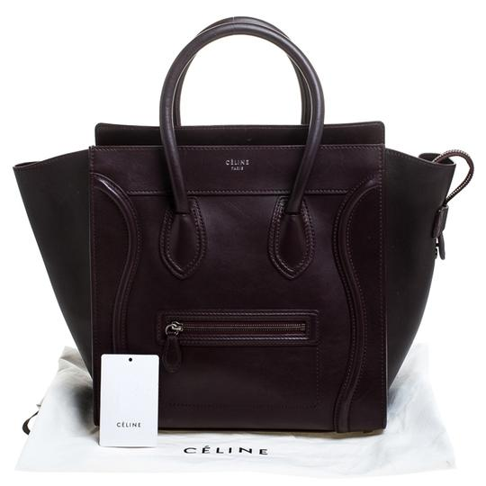 Céline Leather Tote in Burgundy Image 11