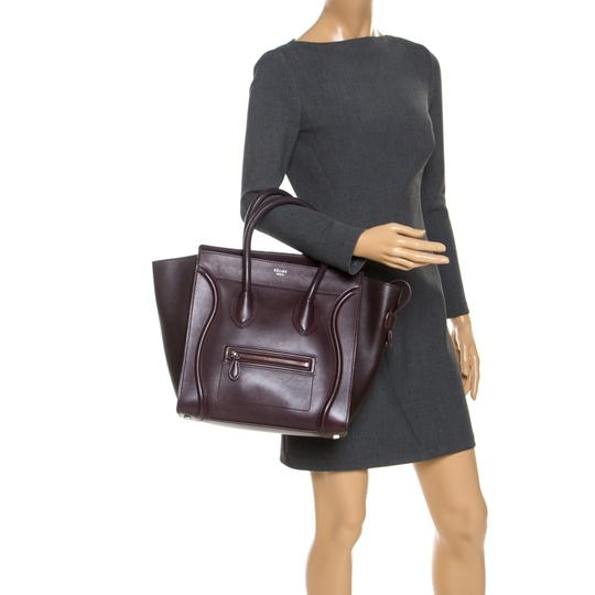 Céline Leather Tote in Burgundy Image 2