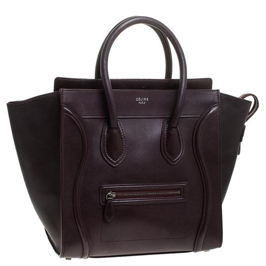 Céline Leather Tote in Burgundy Image 3