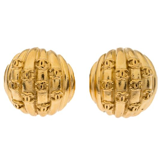 Chanel Gold Plated Rows of CC Logo Vintage Clip On Stud Earrings Image 1