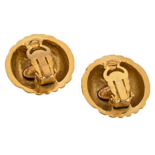 Chanel Gold Plated Rows of CC Logo Vintage Clip On Stud Earrings Image 2