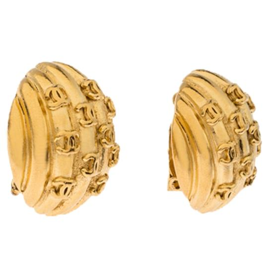 Chanel Gold Plated Rows of CC Logo Vintage Clip On Stud Earrings Image 3