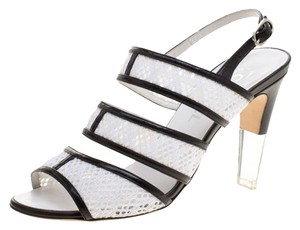 Chanel Monochrome Lace Leather Strappy White Sandals