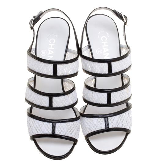 Chanel Monochrome Lace Leather Strappy White Sandals Image 1