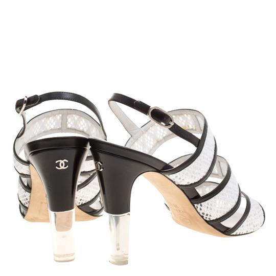 Chanel Monochrome Lace Leather Strappy White Sandals Image 2