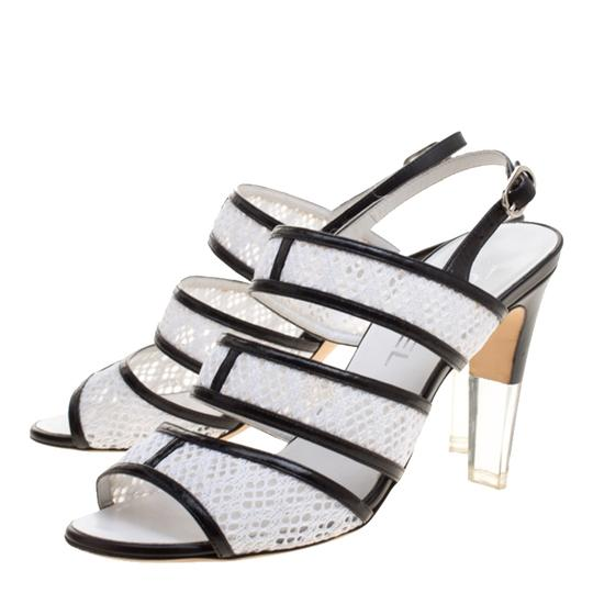Chanel Monochrome Lace Leather Strappy White Sandals Image 4