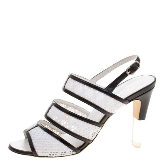 Chanel Monochrome Lace Leather Strappy White Sandals Image 5