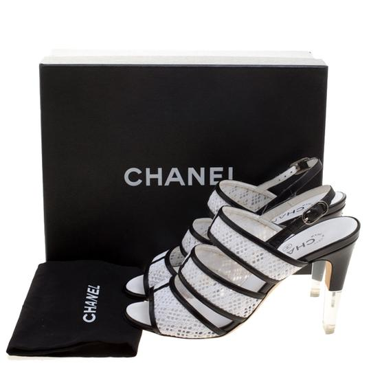 Chanel Monochrome Lace Leather Strappy White Sandals Image 7