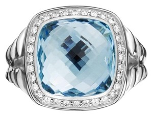 David Yurman Albion Ring with Blue Topaz and Diamonds, 11mm