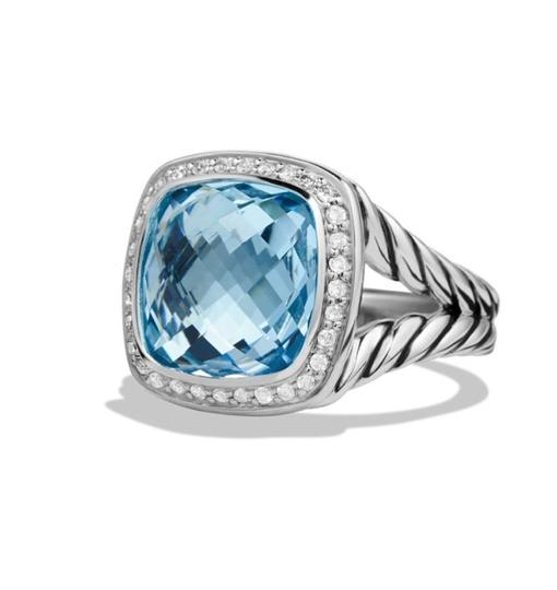 David Yurman Albion Ring with Blue Topaz and Diamonds, 11mm Image 1