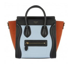 Céline Tote in black, light blue, orange
