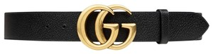 Gucci NEW Gucci Double G Marmont Black Grained Gold HW Sz 95 cm