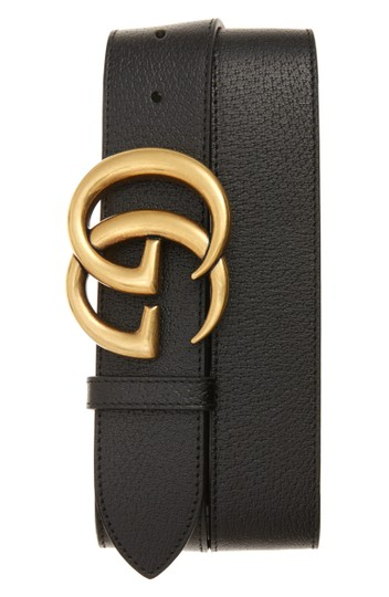 Gucci NEW Gucci Double G Marmont Black Grained Gold HW Sz 95 cm Image 1