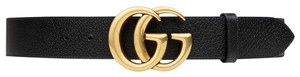 Gucci NEW Gucci Double G Marmont Black Grained Gold HW Sz 90 cm