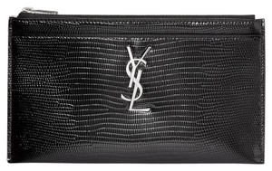 Saint Laurent MONOGRAM BILL POUCH IN REPTILE-EMBOSSED PATENT LEATHER