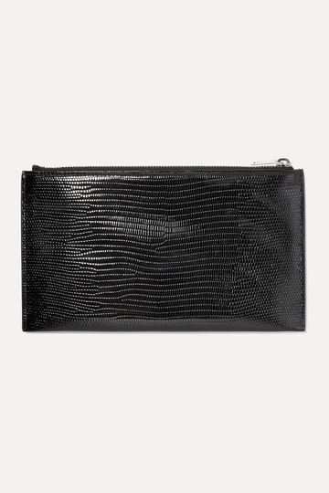Saint Laurent MONOGRAM BILL POUCH IN REPTILE-EMBOSSED PATENT LEATHER Image 1
