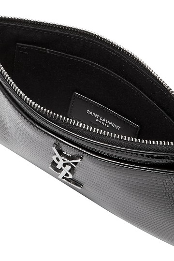 Saint Laurent MONOGRAM BILL POUCH IN REPTILE-EMBOSSED PATENT LEATHER Image 3