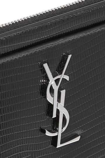 Saint Laurent MONOGRAM BILL POUCH IN REPTILE-EMBOSSED PATENT LEATHER Image 4