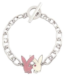 Playboy Playboy Bracelet Kissing Bunny Charm Logo Platinum Plated Toggle Clasp