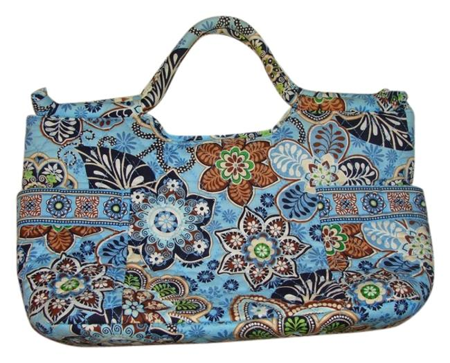 Item - Quilted Machine Washable Blue Multi Cotton Satchel