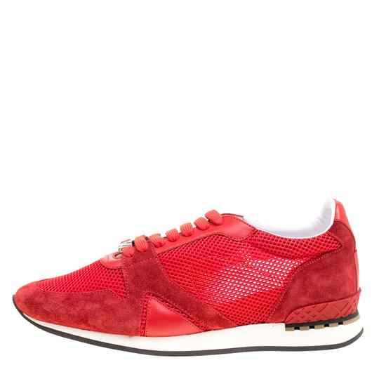 Burberry Mesh Suede Rubber Leather Round Toe Red Athletic Image 1