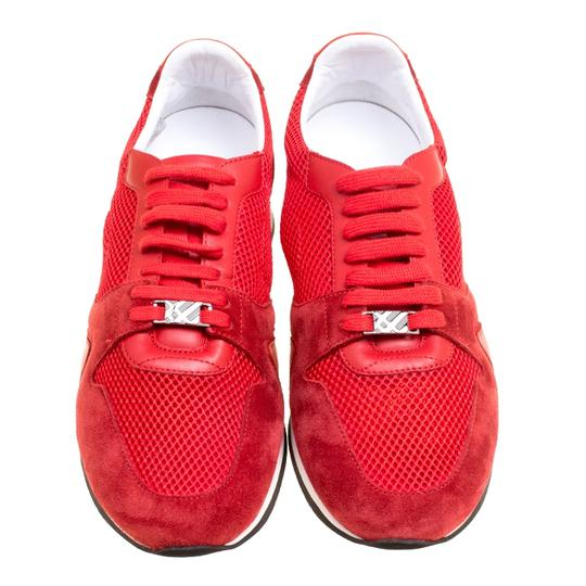 Burberry Mesh Suede Rubber Leather Round Toe Red Athletic Image 2