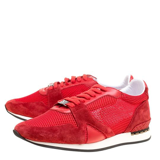 Burberry Mesh Suede Rubber Leather Round Toe Red Athletic Image 3