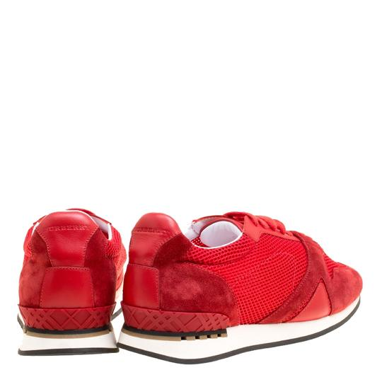 Burberry Mesh Suede Rubber Leather Round Toe Red Athletic Image 4