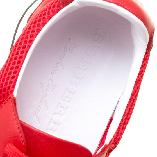 Burberry Mesh Suede Rubber Leather Round Toe Red Athletic Image 6