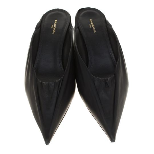 Balenciaga Leather Pointed Toe Black Sandals Image 2
