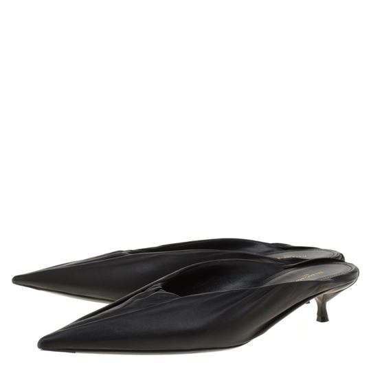 Balenciaga Leather Pointed Toe Black Sandals Image 5