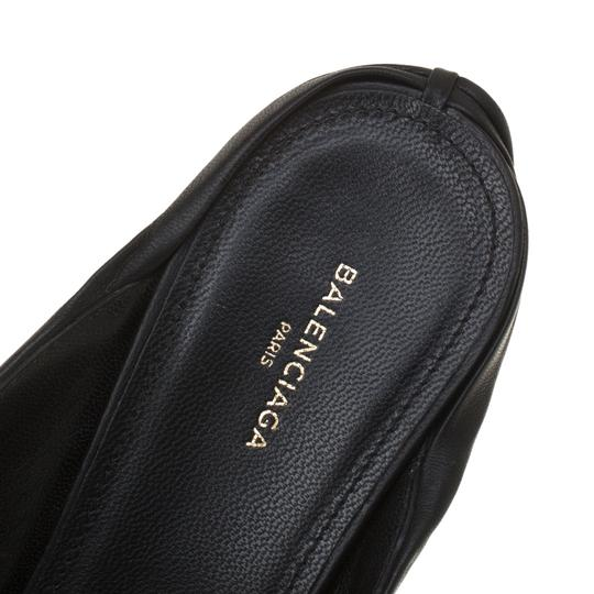 Balenciaga Leather Pointed Toe Black Sandals Image 6