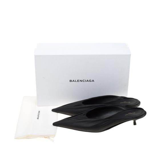 Balenciaga Leather Pointed Toe Black Sandals Image 7