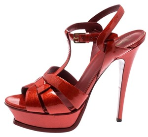 Saint Laurent Patent Leather Gold Ankle Strap Leather Red Sandals