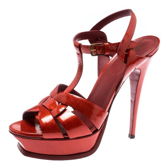 Saint Laurent Patent Leather Gold Ankle Strap Leather Red Sandals Image 1