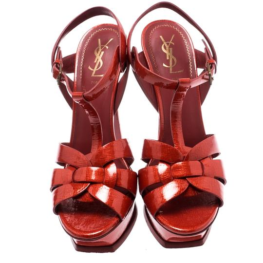 Saint Laurent Patent Leather Gold Ankle Strap Leather Red Sandals Image 2