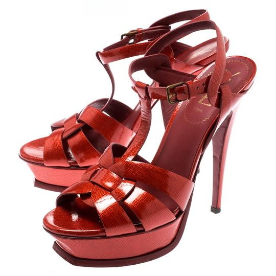 Saint Laurent Patent Leather Gold Ankle Strap Leather Red Sandals Image 3