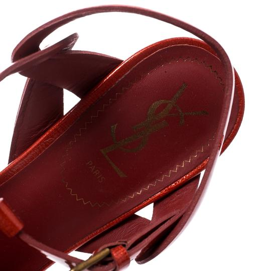 Saint Laurent Patent Leather Gold Ankle Strap Leather Red Sandals Image 6