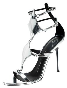Giuseppe Zanotti Leather Metallic Strappy Silver Sandals